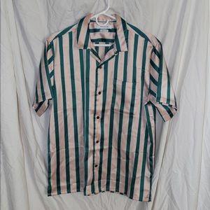 Silk revere button down shirt